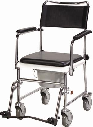 Folding Portable Upholstered Commode With Wheels And Drop Arm